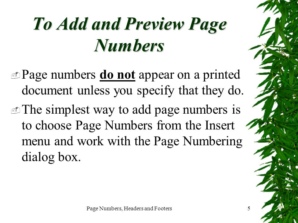 To Add and Preview Page Numbers