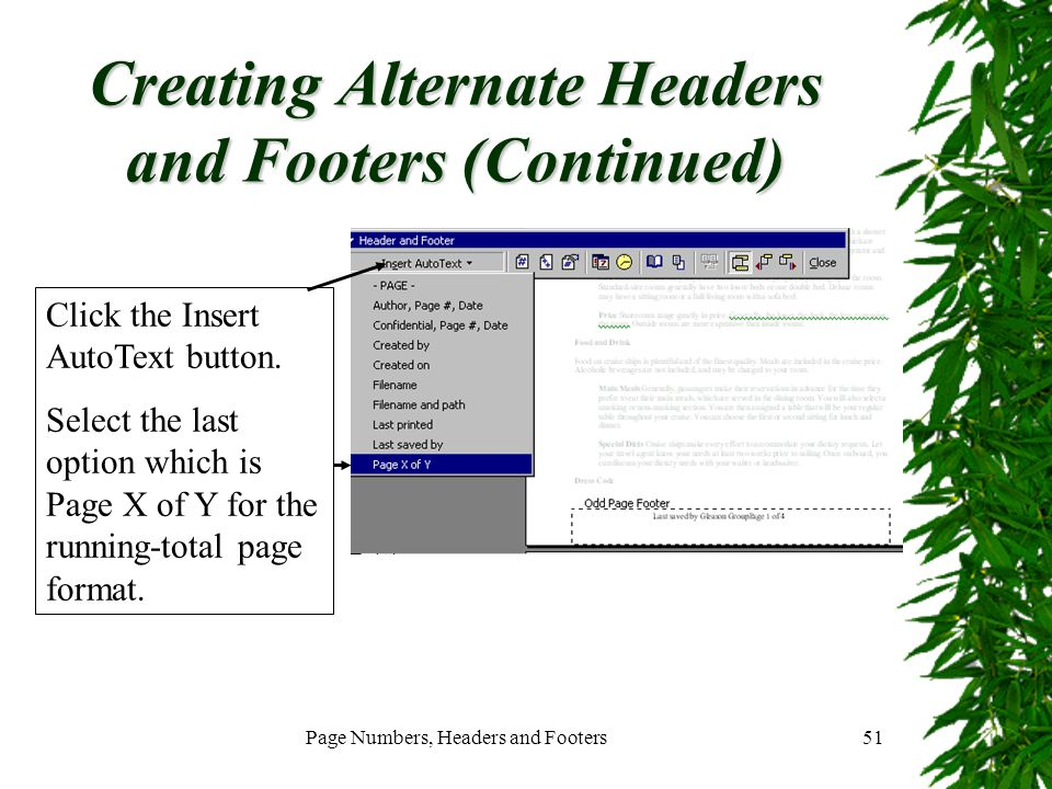 Creating Alternate Headers and Footers (Continued)