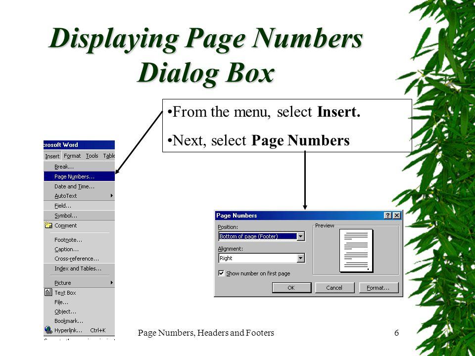 Displaying Page Numbers Dialog Box