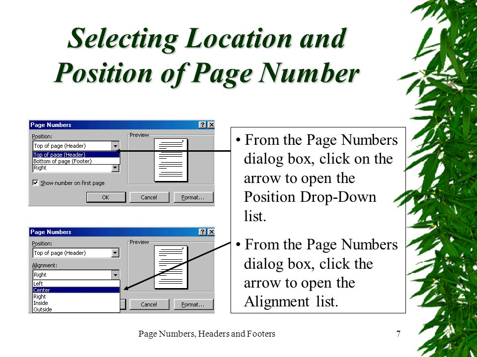 Selecting Location and Position of Page Number