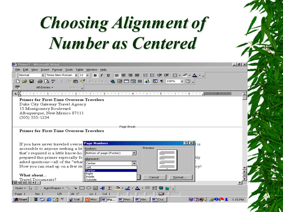 Choosing Alignment of Number as Centered