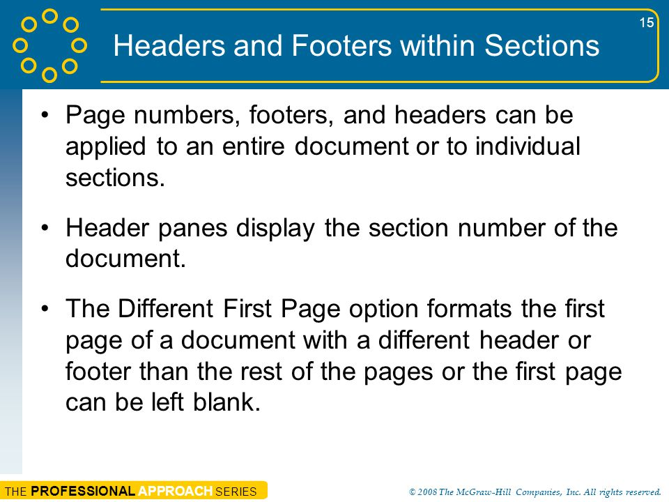 Headers and Footers within Sections