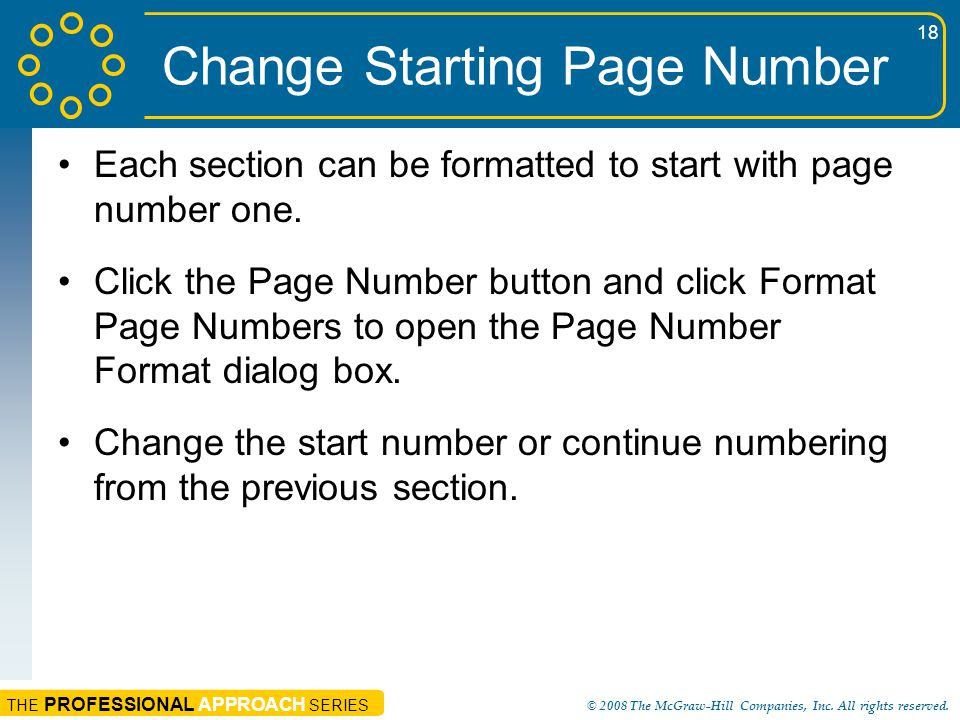 Change Starting Page Number