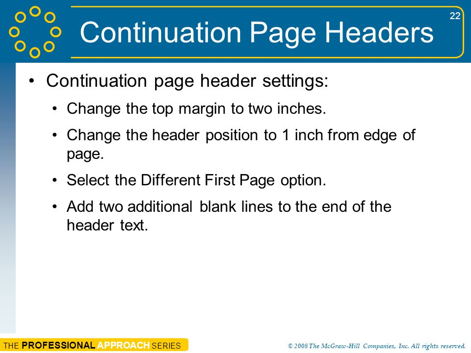 Continuation Page Headers
