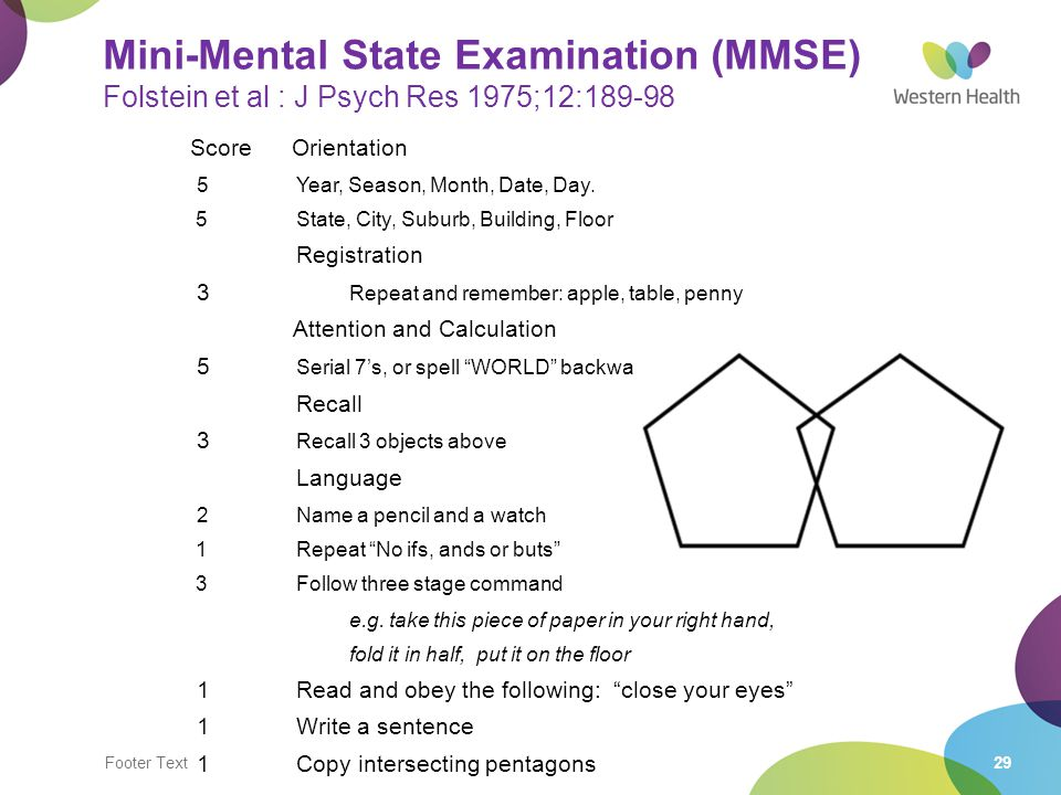 Mini-Mental State Examination (MMSE) Folstein et al : J Psych Res 1975;12:189-98