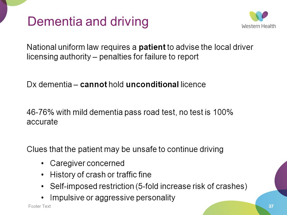 Dementia and driving National uniform law requires a patient to advise the local driver licensing authority – penalties for failure to report.
