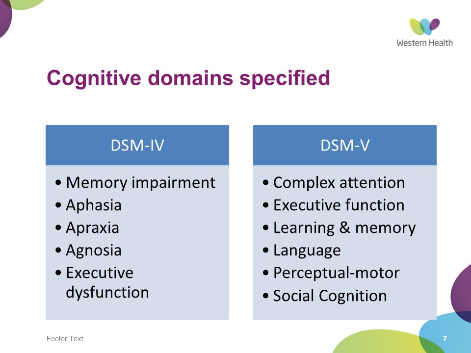 Cognitive domains specified