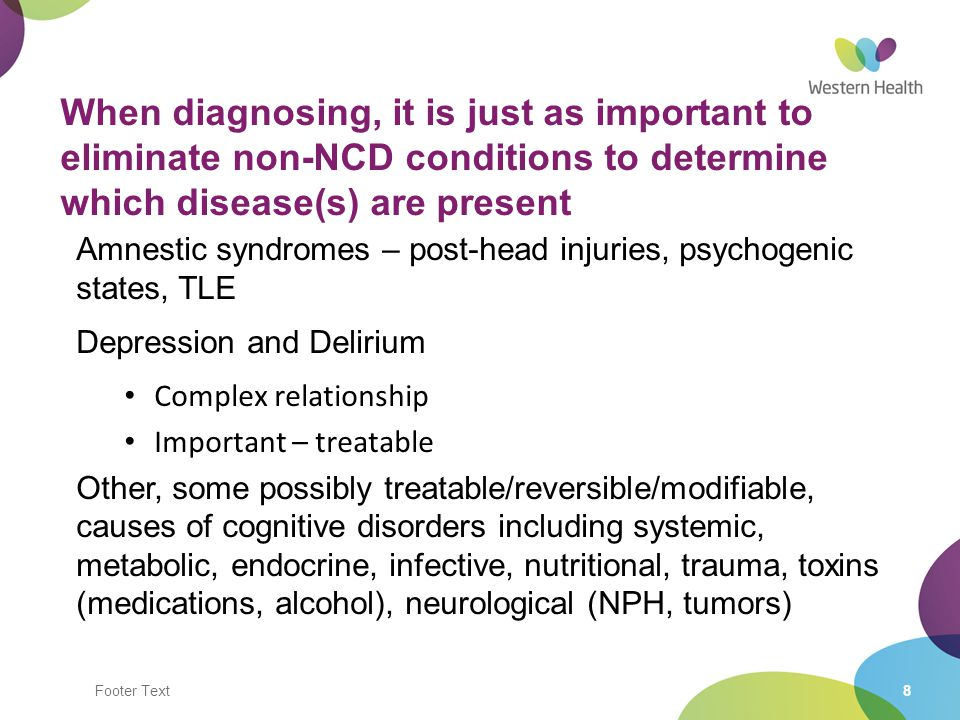 When diagnosing, it is just as important to eliminate non-NCD conditions to determine which disease(s) are present