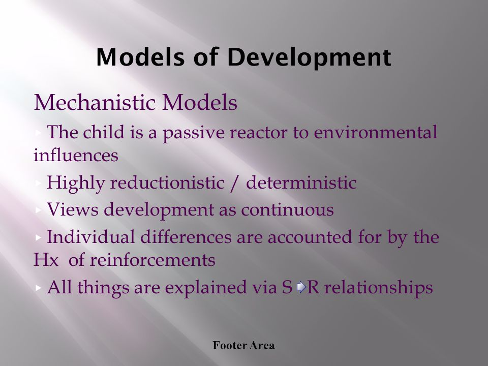 Models of Development Mechanistic Models