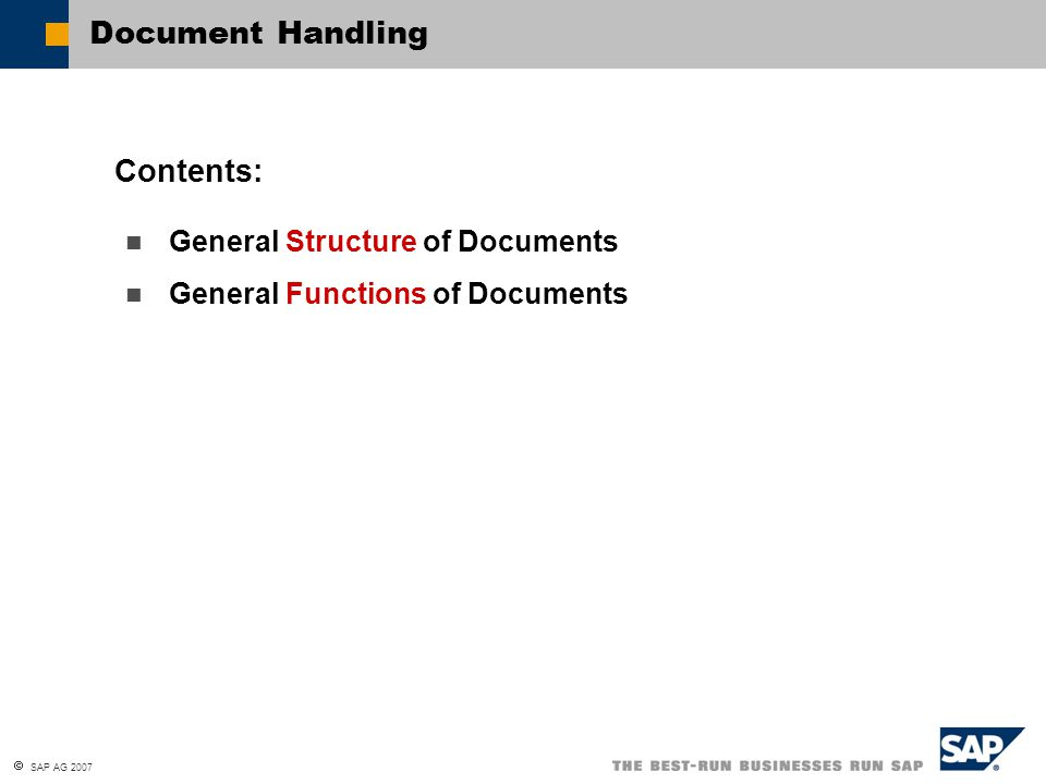 Document Handling Contents: General Structure of Documents