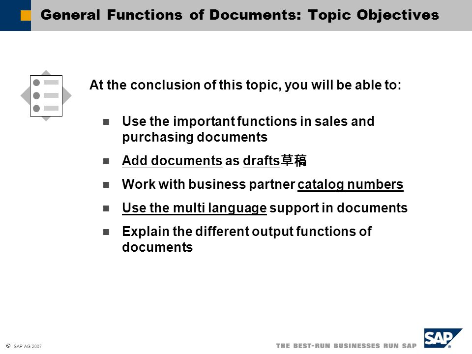 General Functions of Documents: Topic Objectives