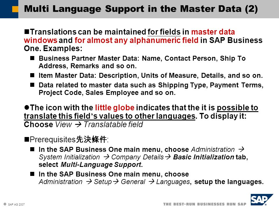 Multi Language Support in the Master Data (2)