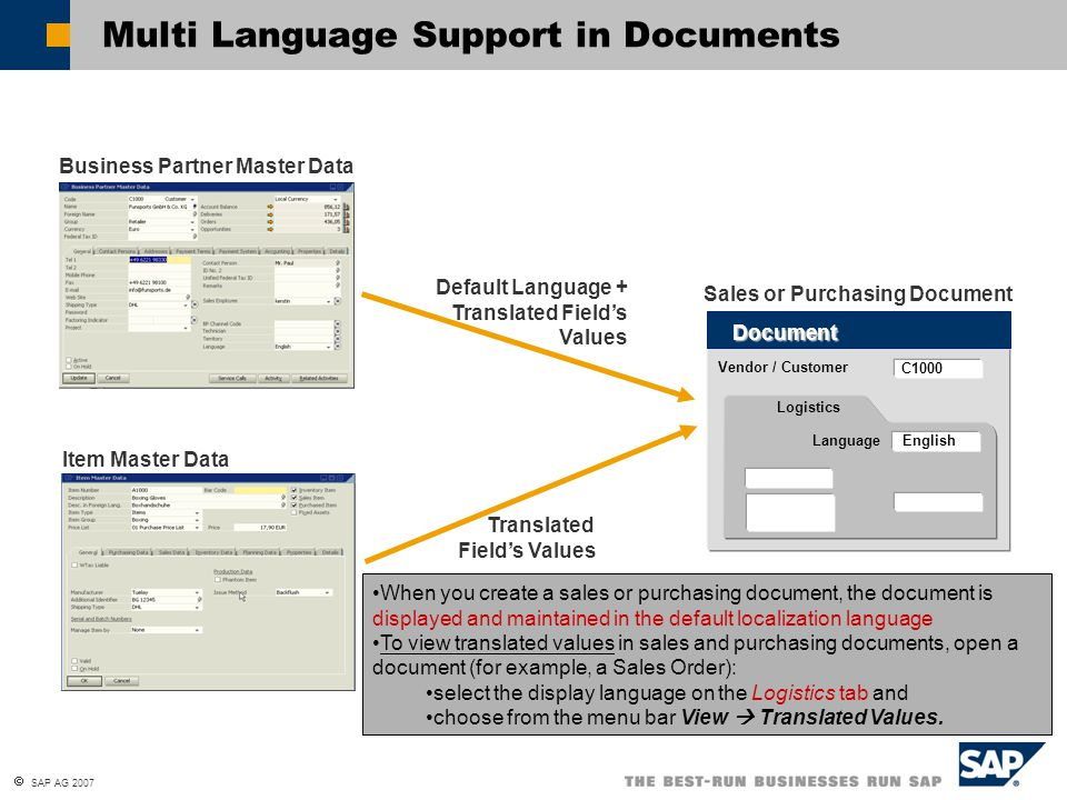 Multi Language Support in Documents