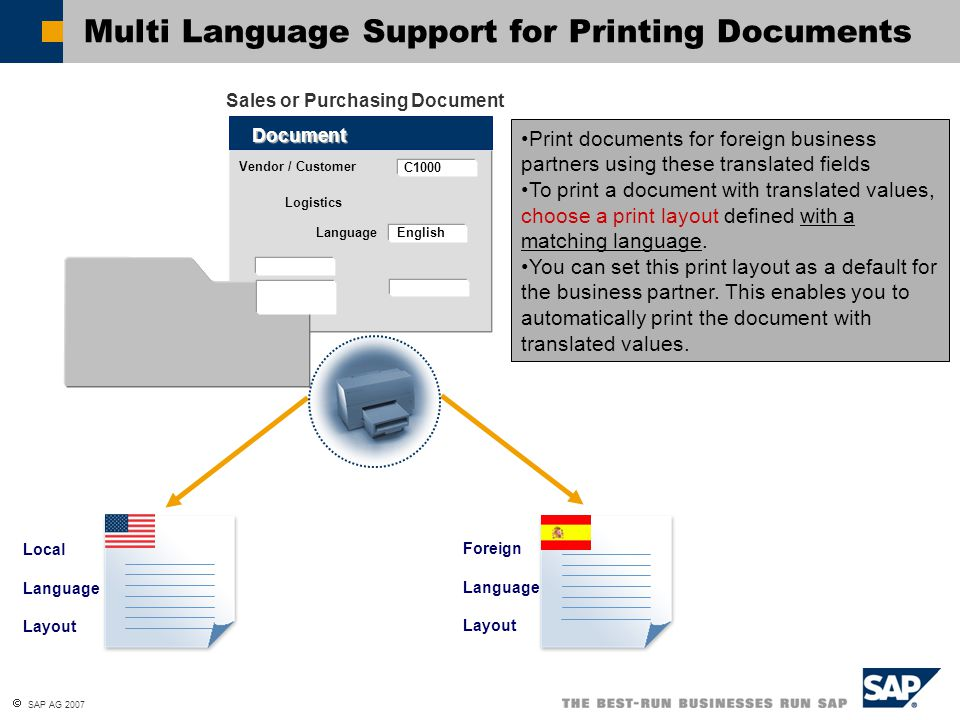 Multi Language Support for Printing Documents