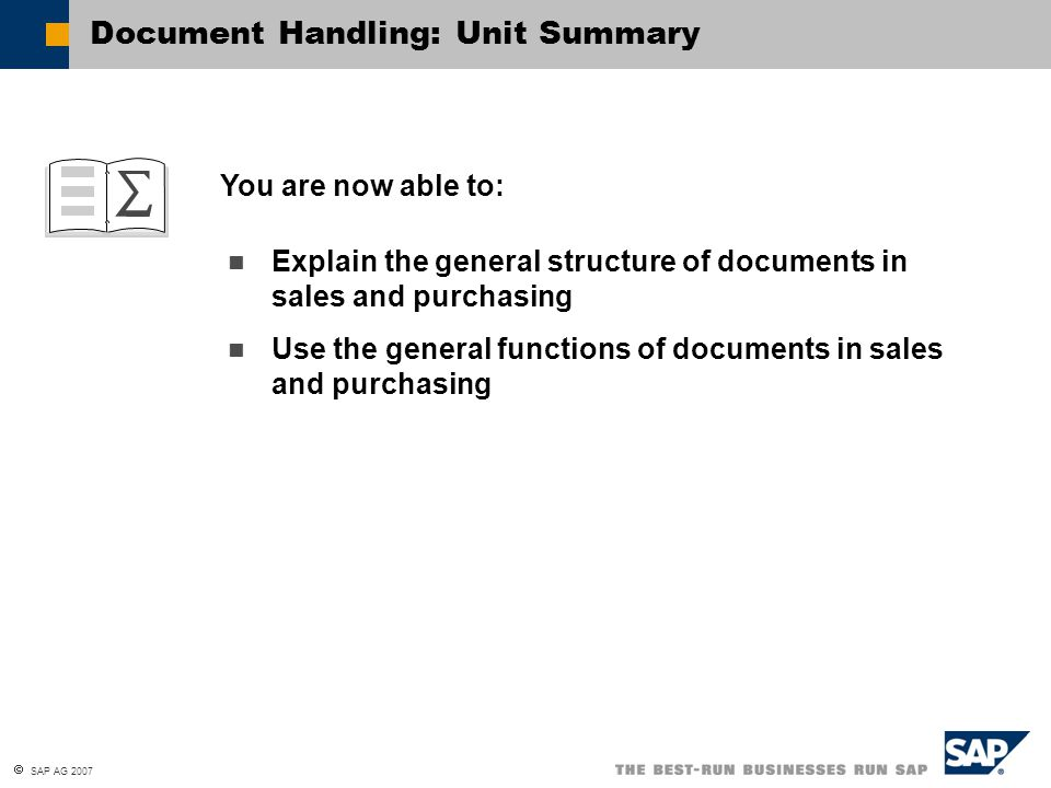 Document Handling: Unit Summary