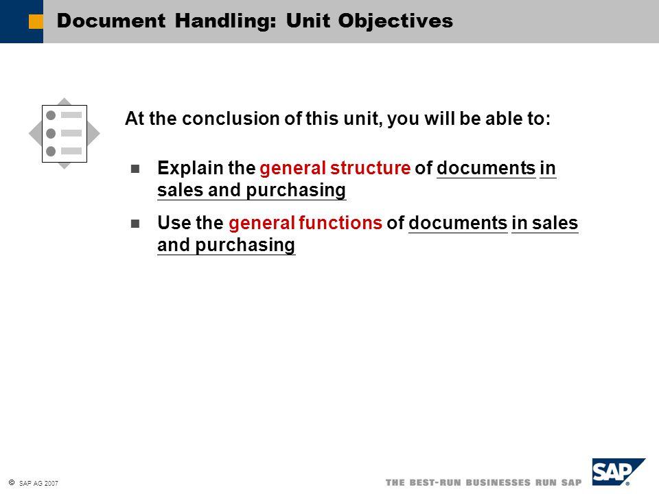 Document Handling: Unit Objectives