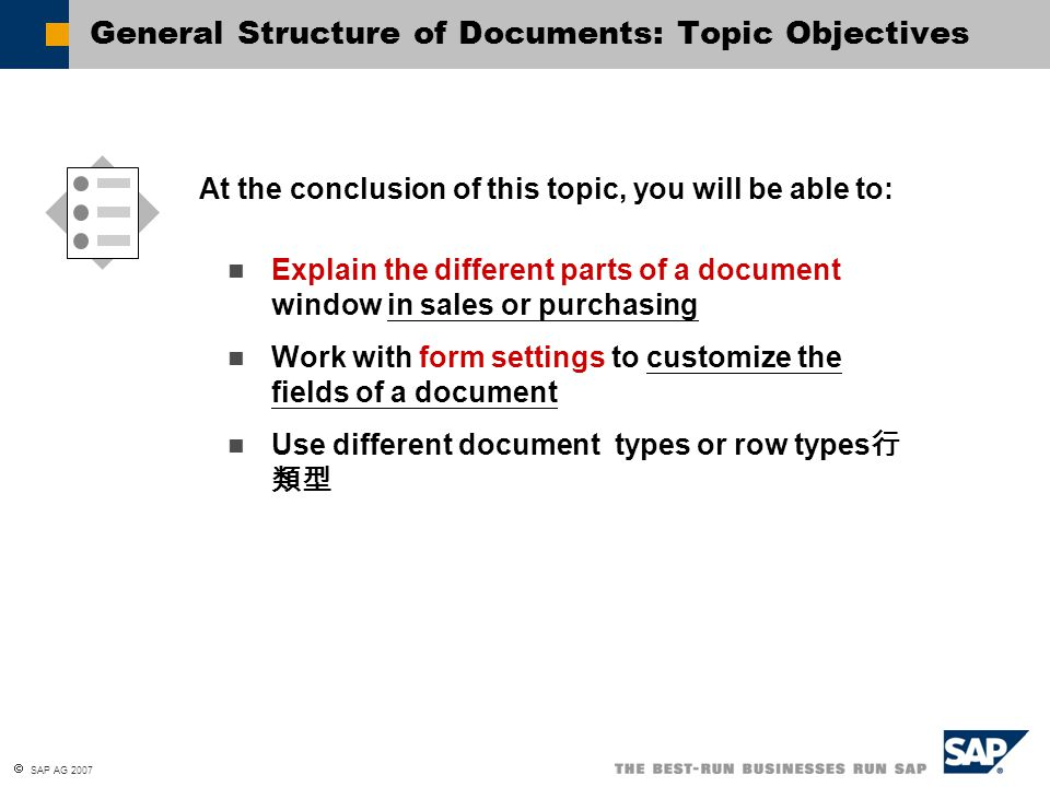 General Structure of Documents: Topic Objectives