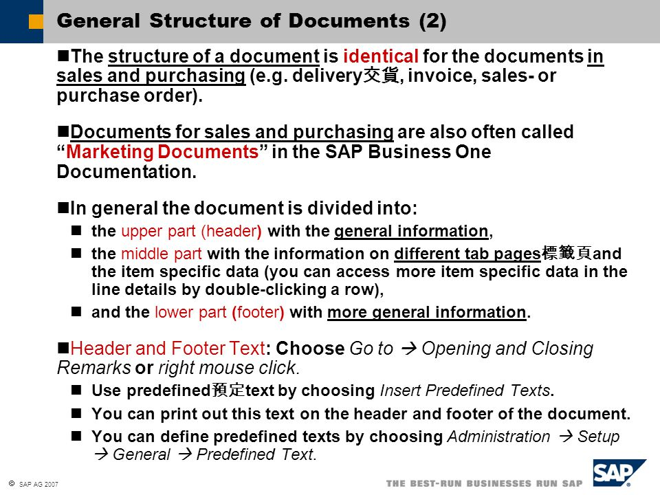 General Structure of Documents (2)