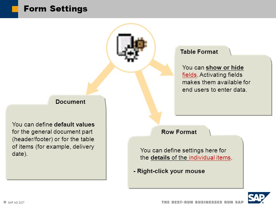 Form Settings Table Format
