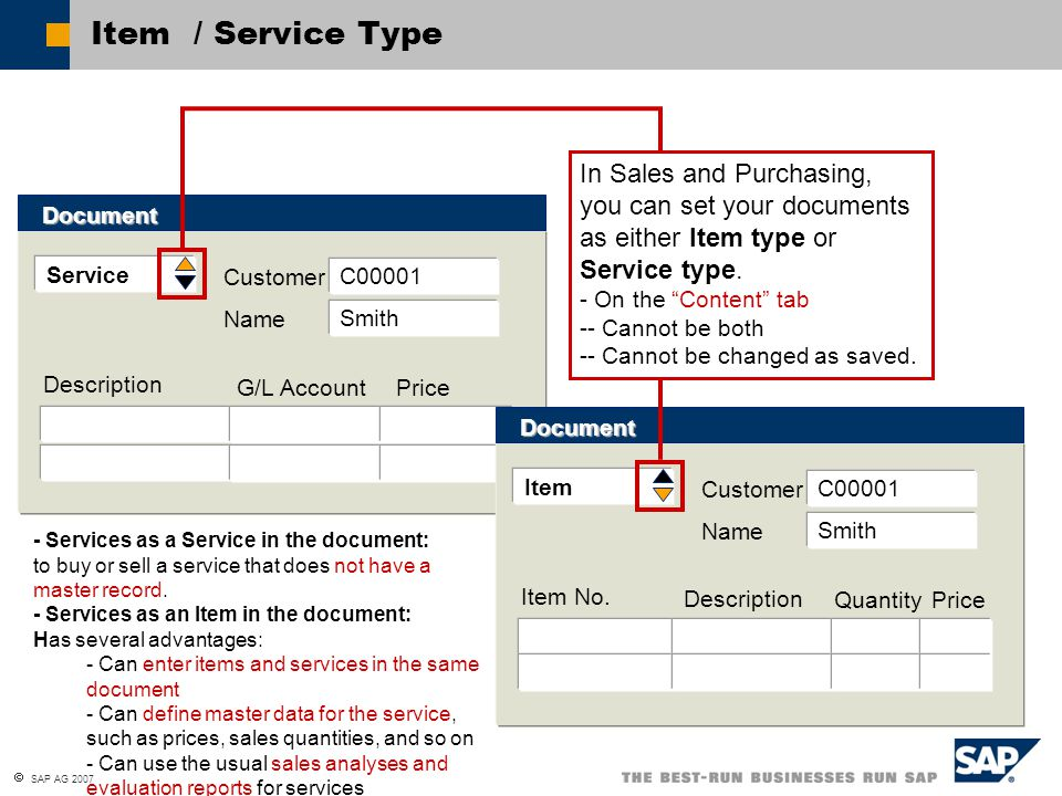Item / Service Type In Sales and Purchasing, you can set your documents as either Item type or Service type.