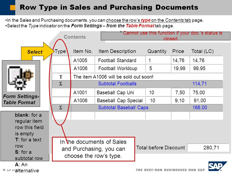 Row Type in Sales and Purchasing Documents