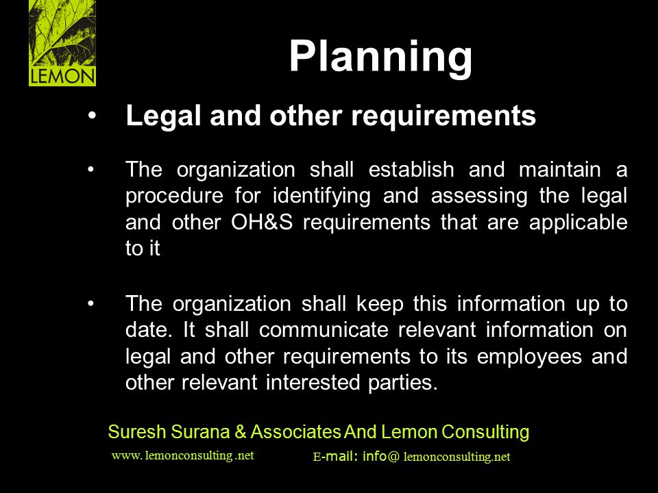Planning Legal and other requirements