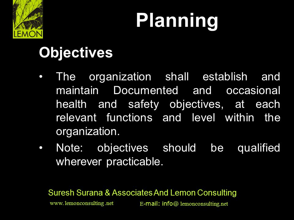 Planning HSE & EMS Issues Objectives •