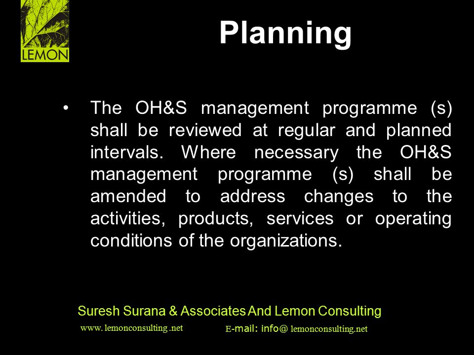 Planning HSE & EMS Issues •