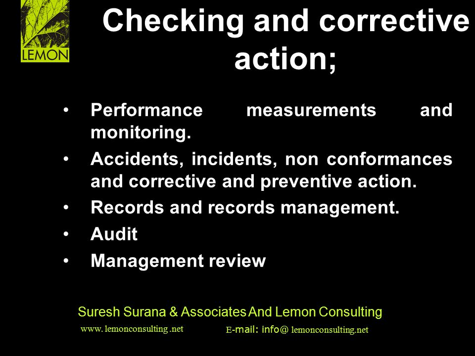 Checking and corrective action;