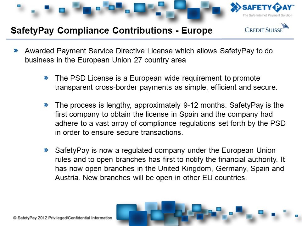 SafetyPay Compliance Contributions - Europe
