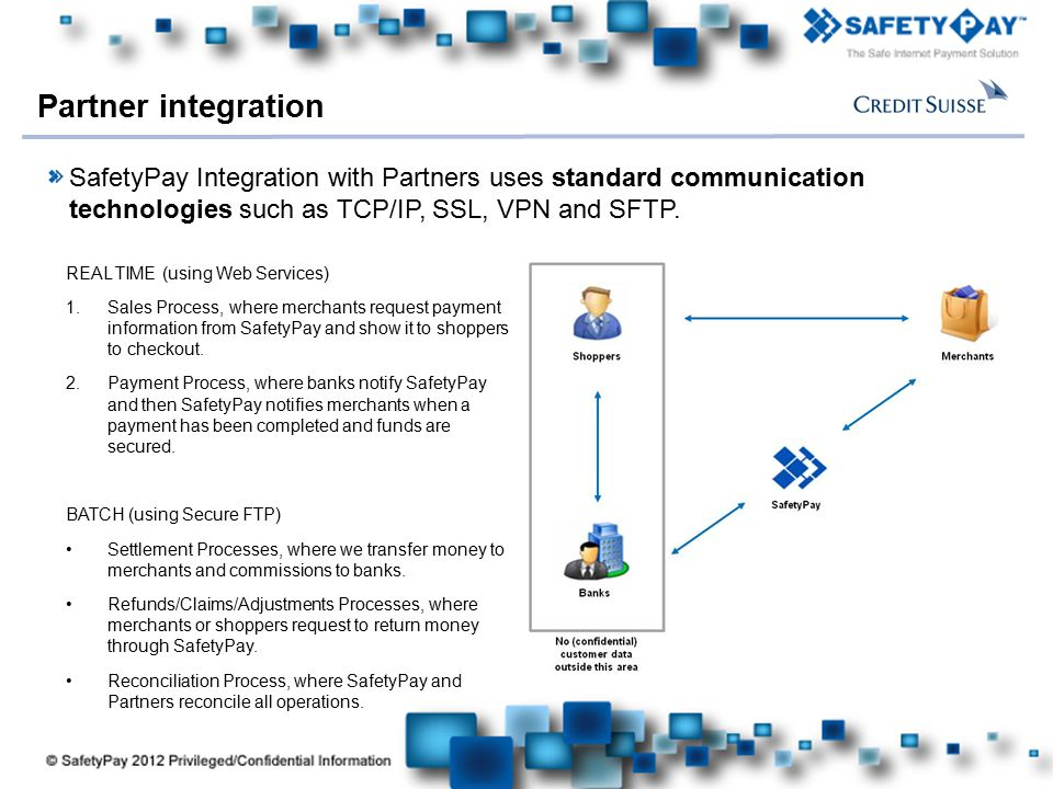 Partner integration SafetyPay Integration with Partners uses standard communication technologies such as TCP/IP, SSL, VPN and SFTP.