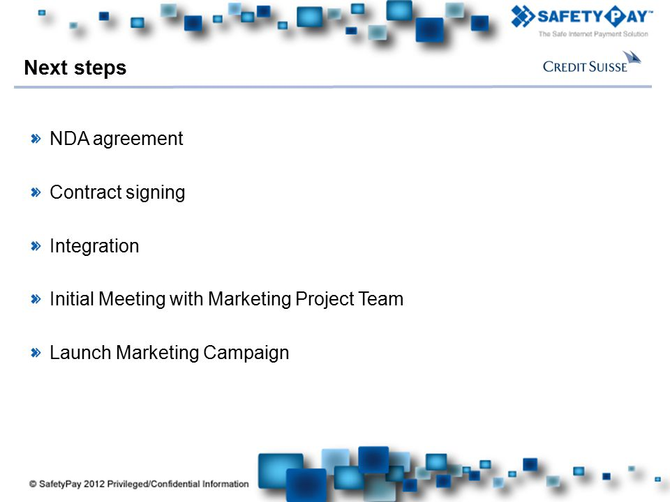 Next steps NDA agreement Contract signing Integration
