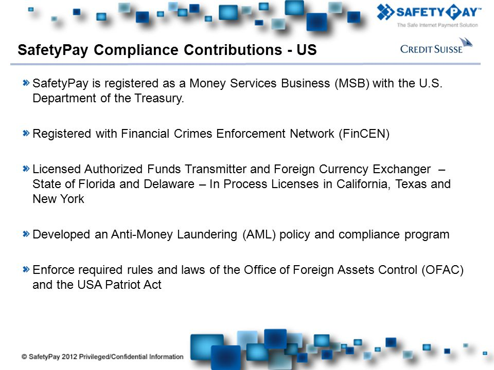 SafetyPay Compliance Contributions - US