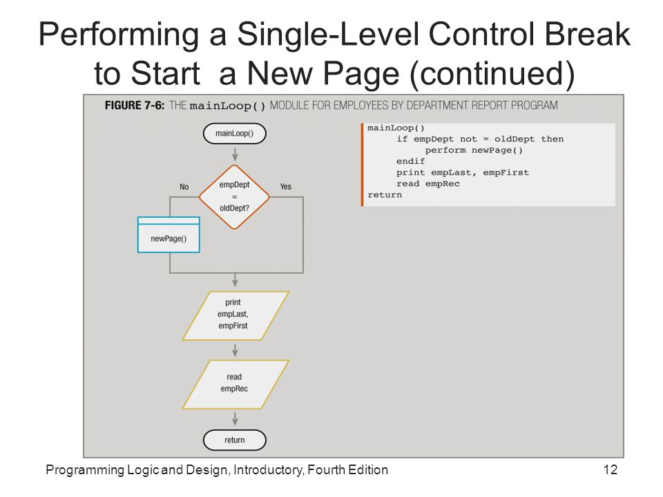 Performing a Single-Level Control Break to Start a New Page (continued)