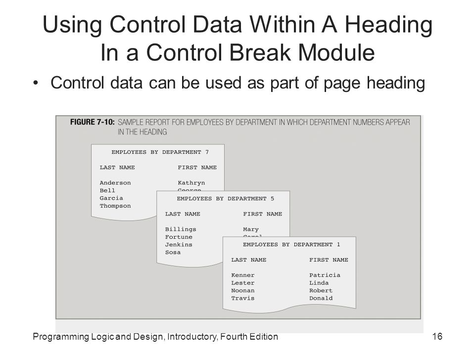 Using Control Data Within A Heading In a Control Break Module