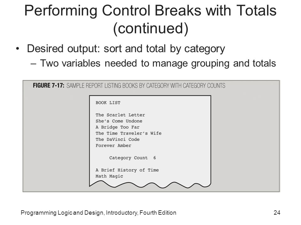 Performing Control Breaks with Totals (continued)