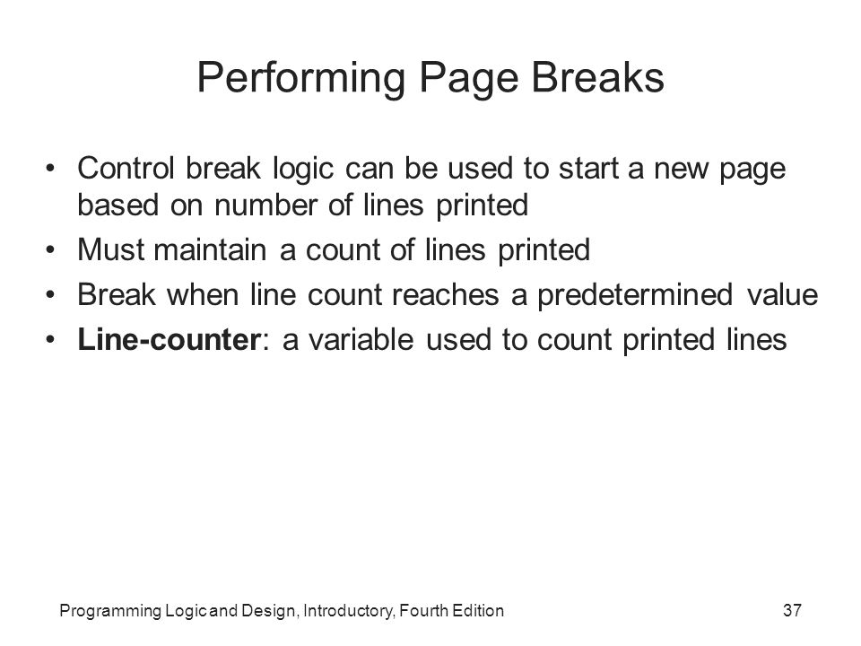 Performing Page Breaks