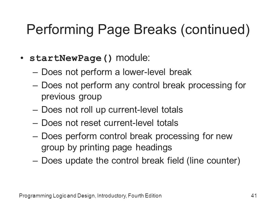 Performing Page Breaks (continued)