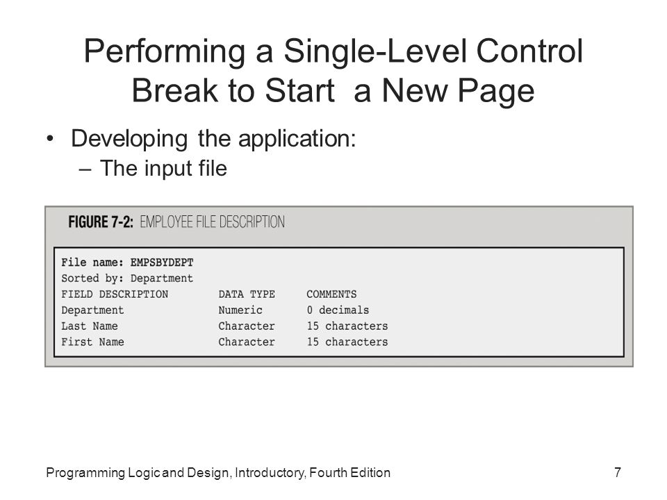 Performing a Single-Level Control Break to Start a New Page