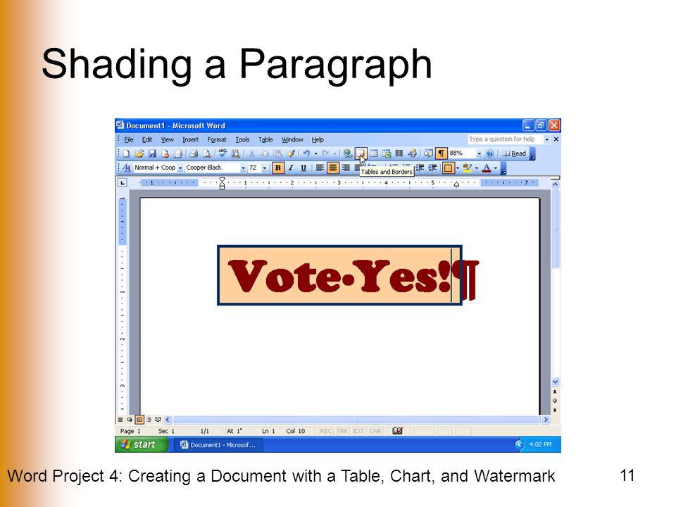 Shading a Paragraph