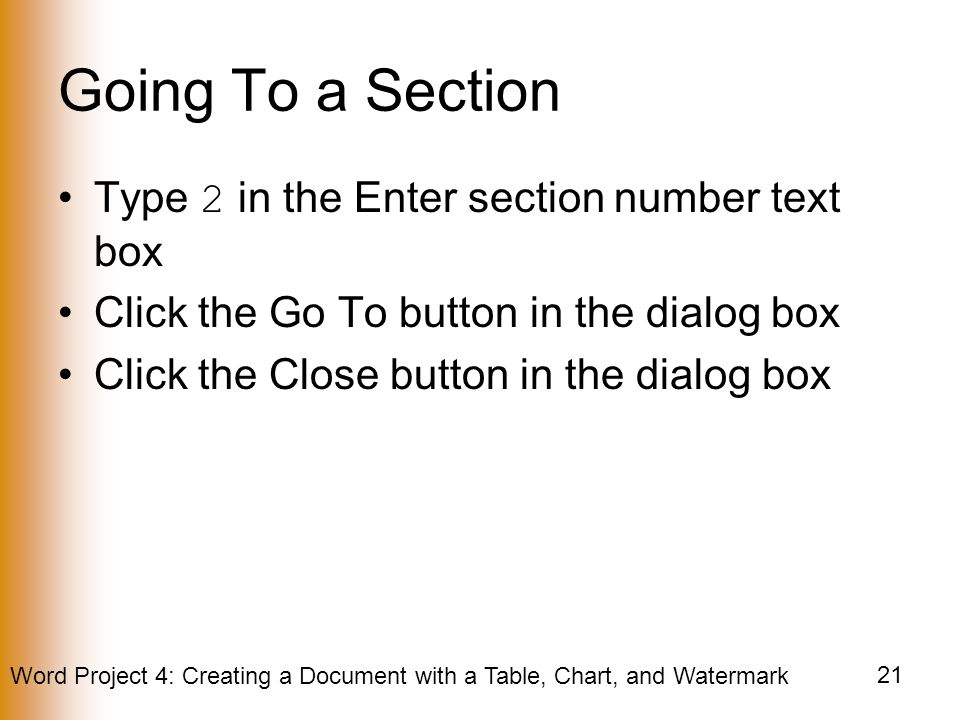 Going To a Section Type 2 in the Enter section number text box