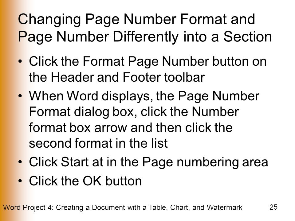 Changing Page Number Format and Page Number Differently into a Section