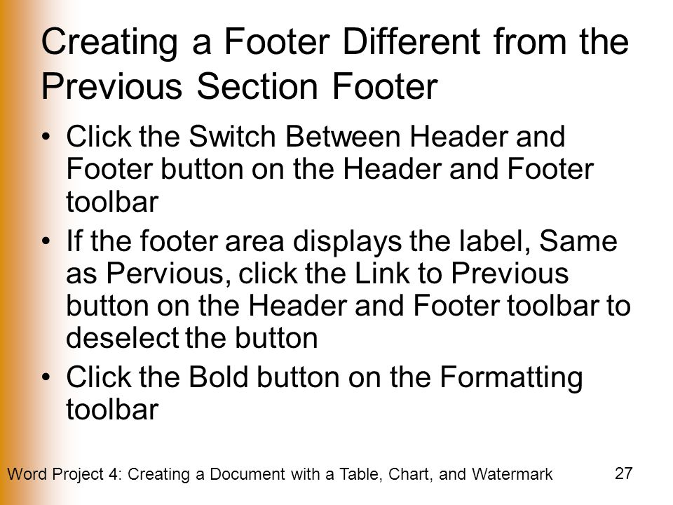 Creating a Footer Different from the Previous Section Footer