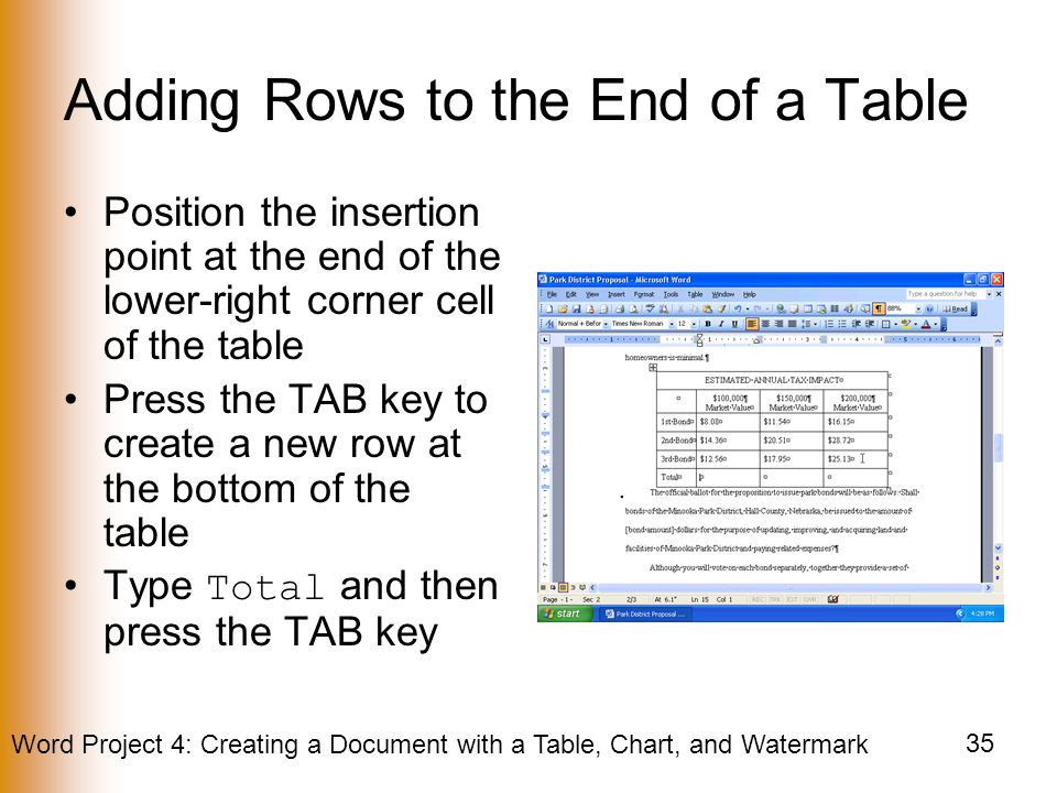 Adding Rows to the End of a Table