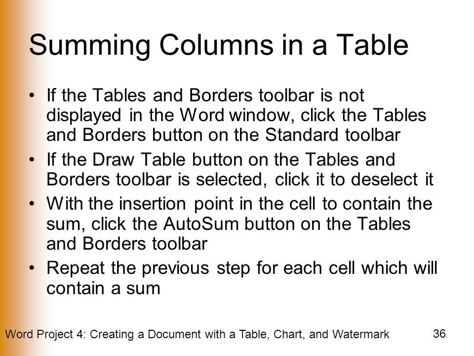 Summing Columns in a Table