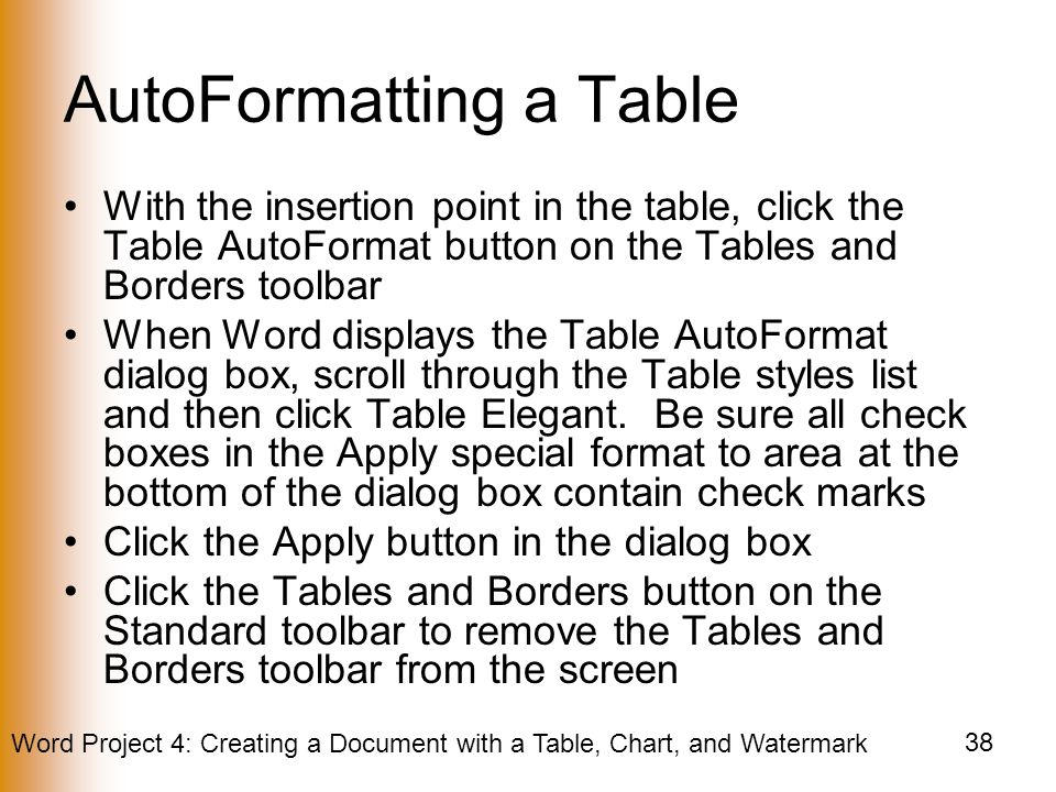 AutoFormatting a Table