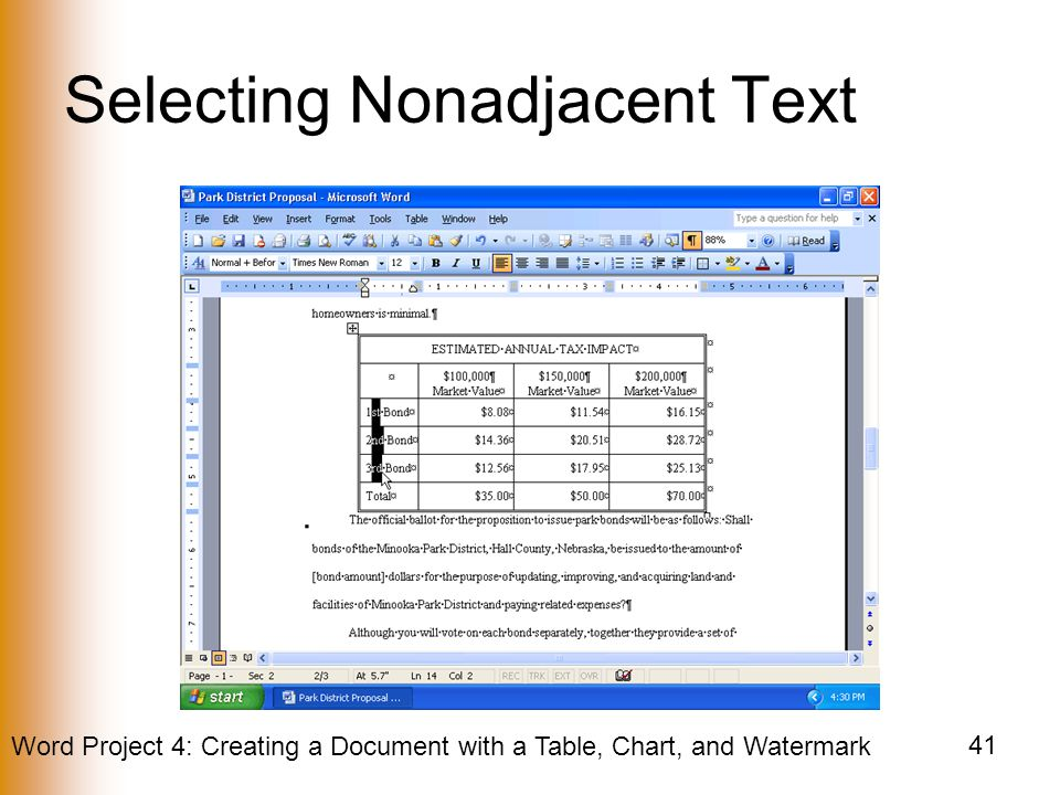 Selecting Nonadjacent Text