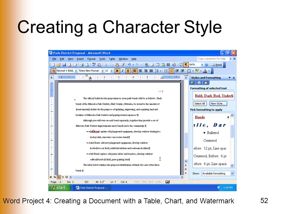 Creating a Character Style