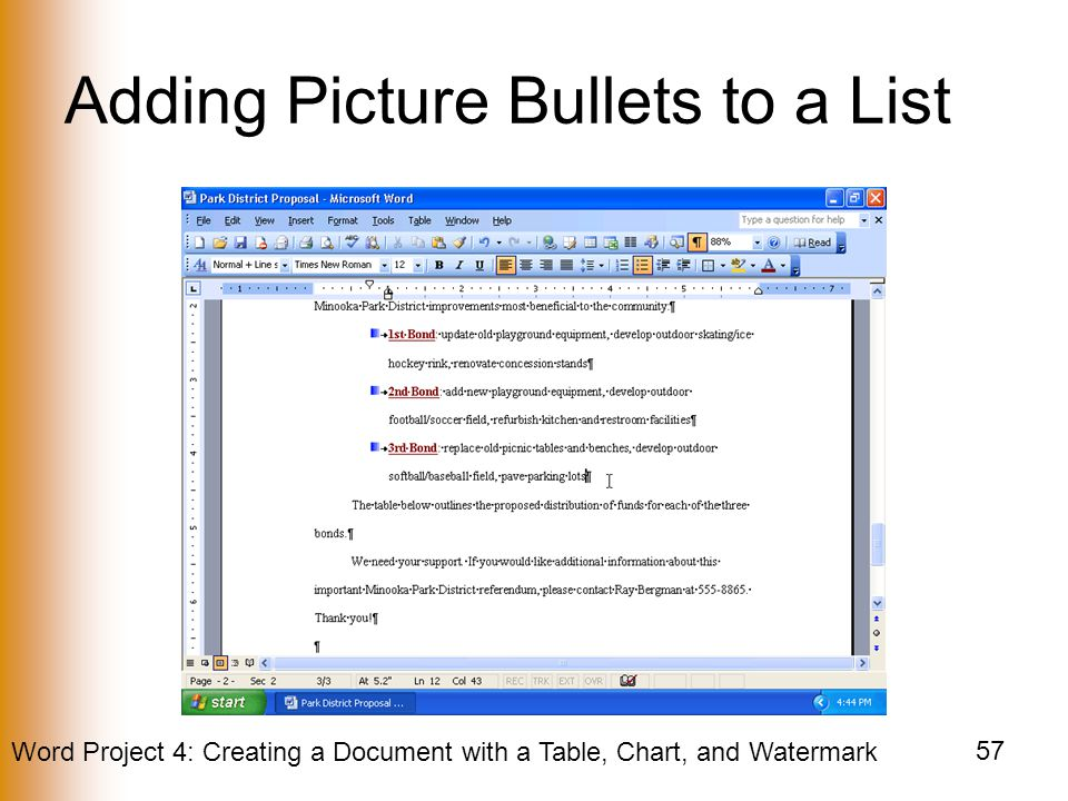 Adding Picture Bullets to a List