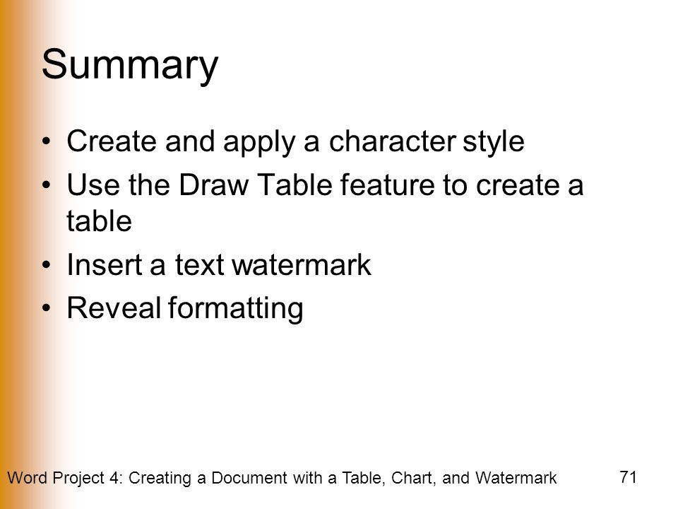 Summary Create and apply a character style